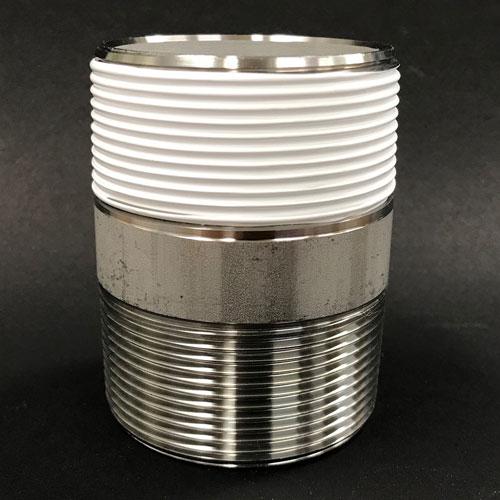 """2""""(2インチ)ネジにKS25-05(幅25mm)のシールテープを巻付"""